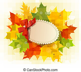 Card with leaves with a red bow. Vector