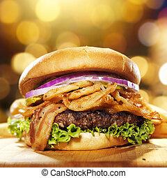 gastrónomo, tocino, hamburguesa, dorado, Plano de...