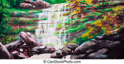 Vintage waterfall Oil Painting on wall