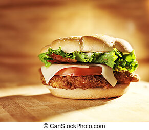 crispy chicken sandwich with bacon and swiss cheese