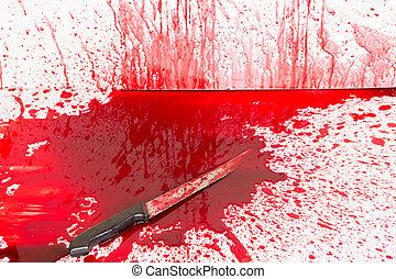 Halloween, concepto, :, sangriento, cuchillo, sangre,...