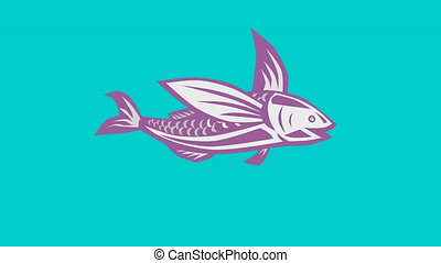 flying fish swimming retro