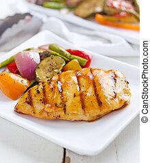 barbecued, galinha, fresco, vegetal, Lados