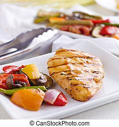 grelhados, churrasco, galinha,  closeup