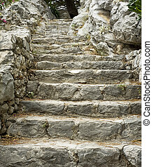 Historic stone stairs in Omis