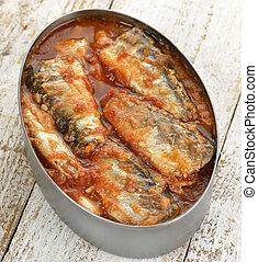 estanhado, sardinhas, em, tomate, molho