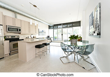 modernos, condomínio, cozinha, jantar, vivendo, sala