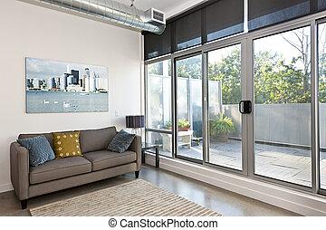 moderno, vida, habitación, Balcón