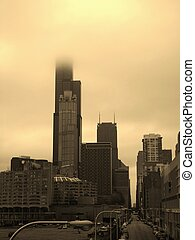 Fog in the Windy City - View of Chicago buildings