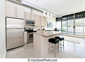 moderno, condo, cocina, vida, habitación