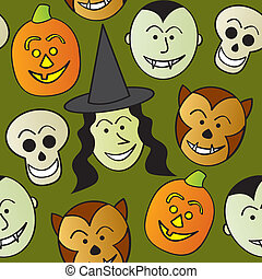 Seamless Cartoon Halloween Characte