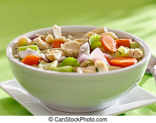 bowl of chicken noodle soup with copyspace composition