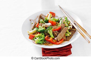 freír, conmoción, asiático, carne de vaca