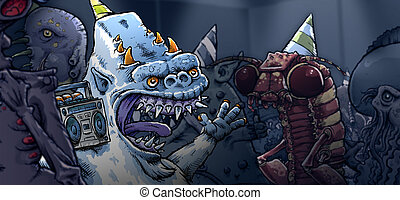 Monster Halloween Party - A cartoon yeti listens to music at...