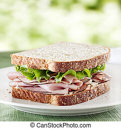 ham sandwich with lettuce and mayo