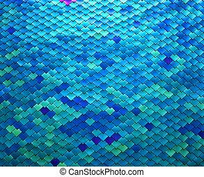 Colorful Metal Fish Scale Design - Image closeup of a metal...
