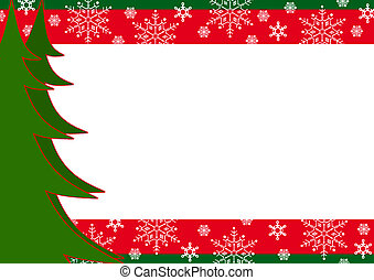 Christmas border with trees and snowflakes. Red, green.