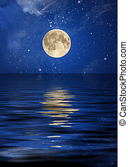 Reflection of the moon and stars at ocean.