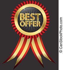Best offer golden label with red - Best offer golden label...