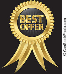 Best offer golden label with ribbon