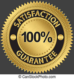 100 percent satisfaction guarantee golden sign, vector