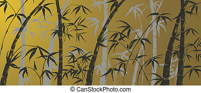 Bamboo ornament - bamboo leaves silhouette background