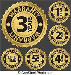Warranty golden label set, vector