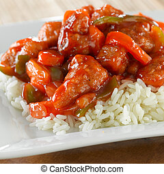 sweet and sour pork on rice