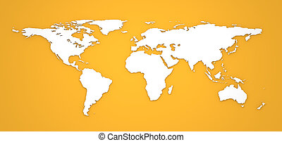 3D World Map on Orange Background. - Hight Detailed 3D World...