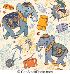 Vector illustration of an elephant Travel pattern - Seamless...