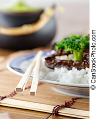 closeup of chopsticks for chinese food