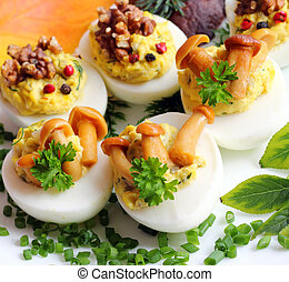 Stuffed eggs - Eggs stuffed with boiled egg yolk, fried...