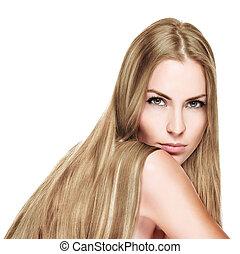 bonito, mulher, direito, longo, loura, cabelo