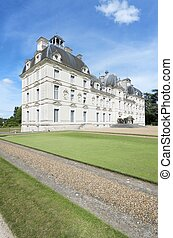 Cheverny, France - August 16, 2012: Tourists walk in the...