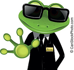 frog security guard2 - frog security guard in a black suit