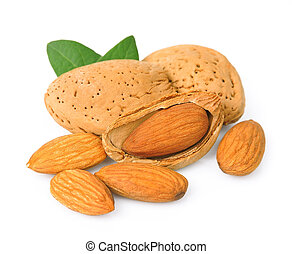 Almonds with leavs closeup on white background