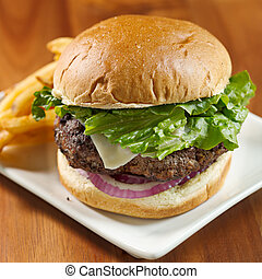 hamburger with french fries on a pl - closeup photo of a...