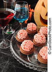 cookies with marzipan brains for Halloween - Funny cookie...