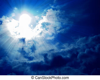 sky and sun - dark blue sky, white soft clouds and sun