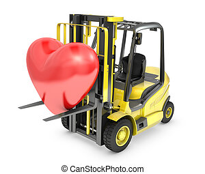 Fork lift truck lifts red heart
