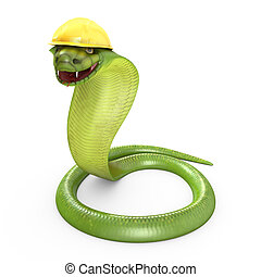 Green cobra bent in a yellow helmet, isolated on white...