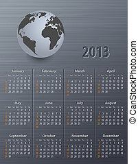 Calendar for 2013 with globe
