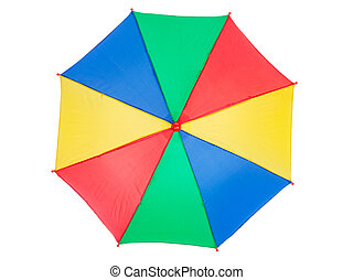 colorful umbrella, isolated on white, top view