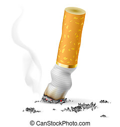 Realistic cigarette butt Illustration on white background