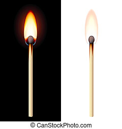 Realistic burning match on white and black background