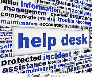 Help desk poster design Customer service message background