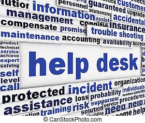 Help desk poster design. Customer service message background