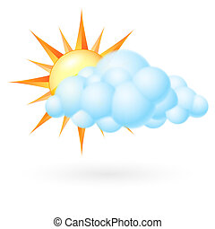 Sun with cloud. Illustration on white background