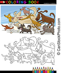 Cartoon Dogs for Coloring Book or Page - Coloring Book or...