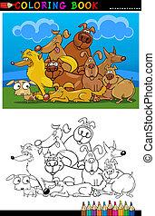 karikatur, hunden, färbung, Buch, oder, Seite